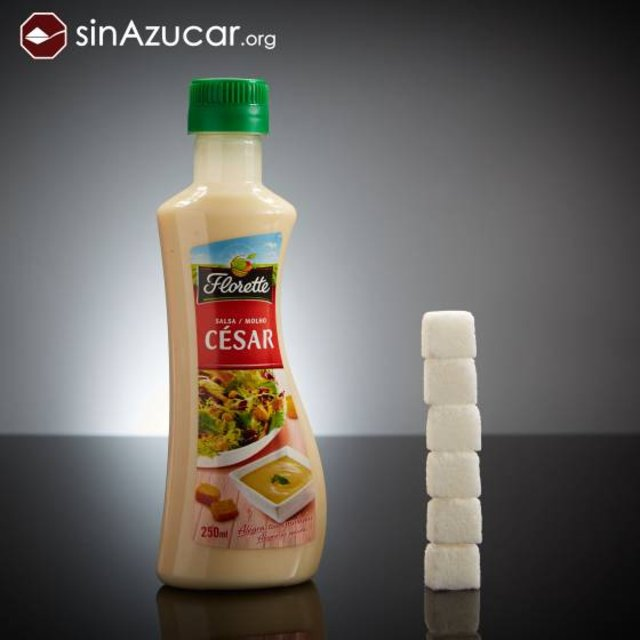 250ml de Salsa César Florette tienen 24 g de azúcar: 6 terrones. SINAZUCAR.ORG
