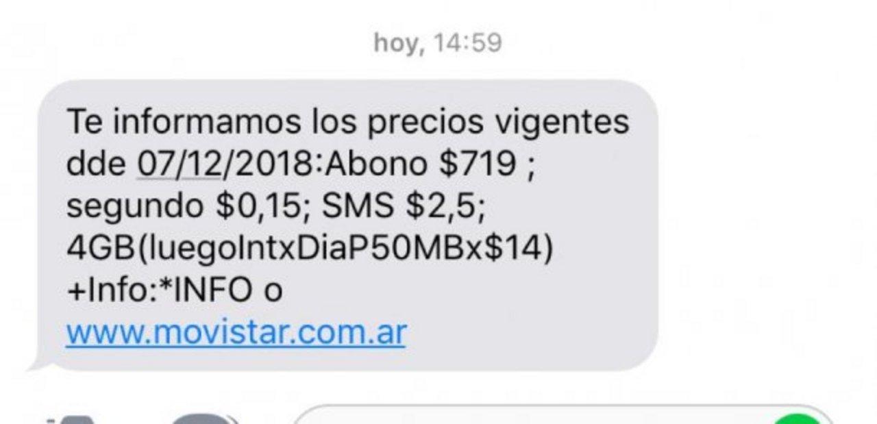 En las últimas horas, Movistar comenzó a notificar a sus clientes a través de mensajes de texto.