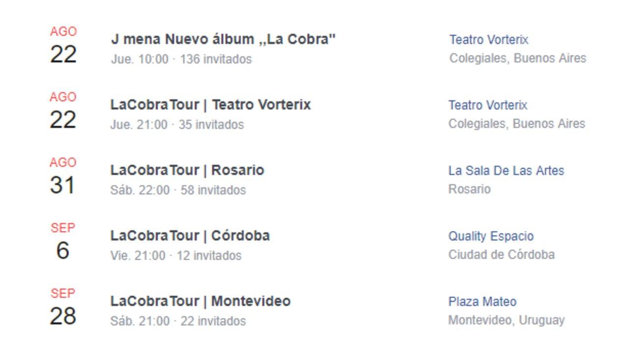 Los próximos shows de Jimena Barón