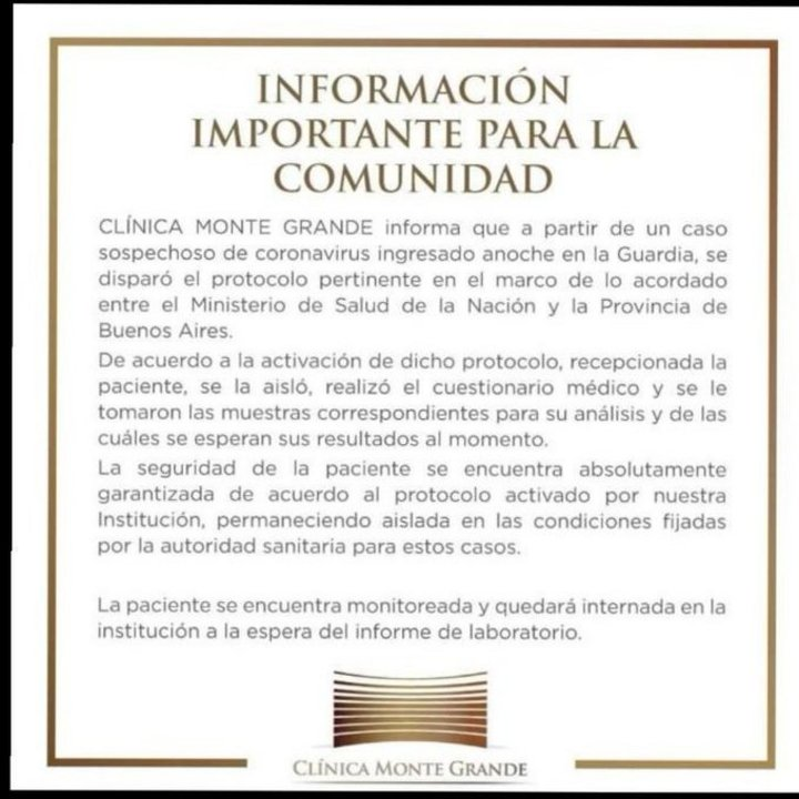 Comunicado de la Clínica Monte Grande.