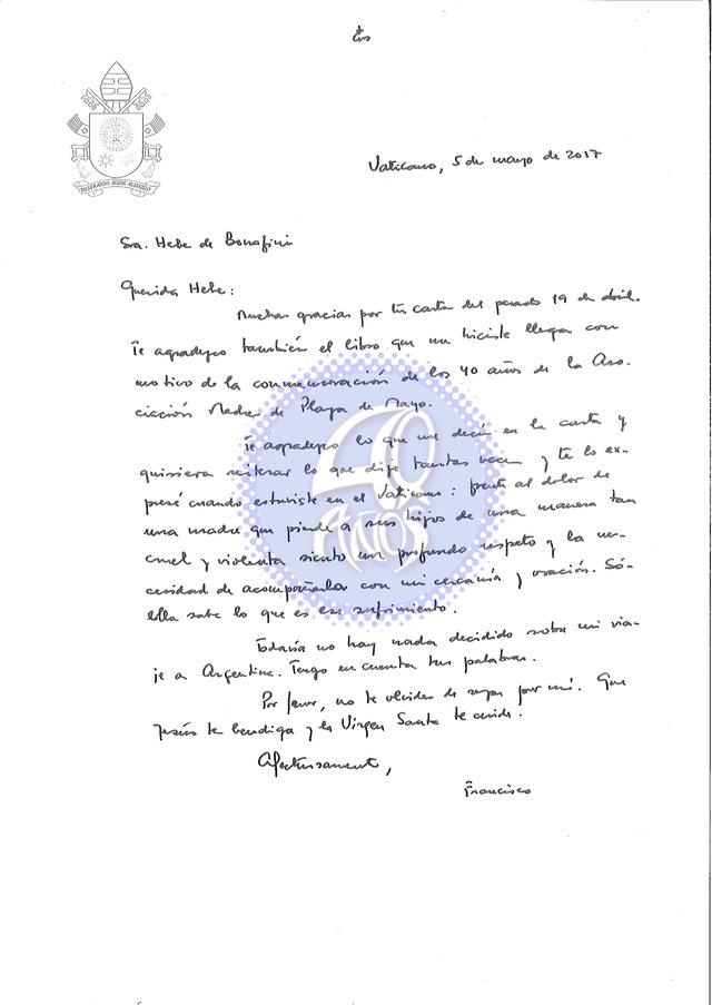 La respuesta manuscrita del Papa